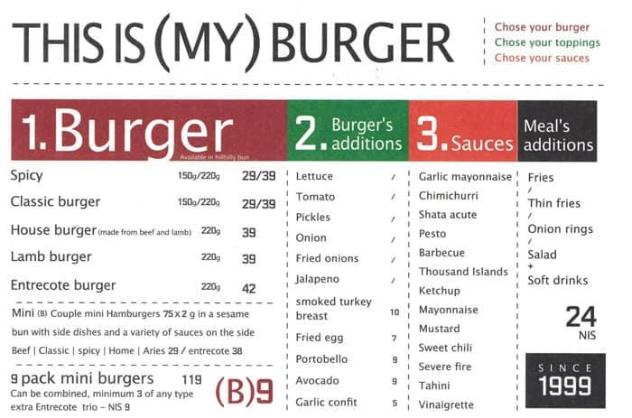 Menu - Burgers
