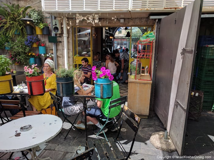 Outdoor seating in Mahane Yehuda