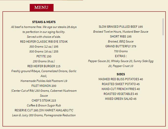 Red Heifer's Menu (Part 2 - Steaks & Meats)