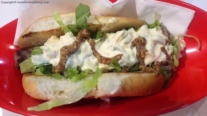 Hatch's Weisswurst sausage sandwich