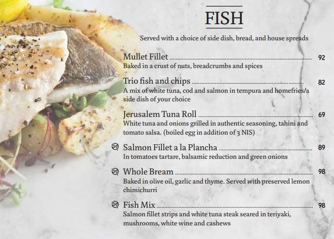 Cafe Rimon's Fish Menu