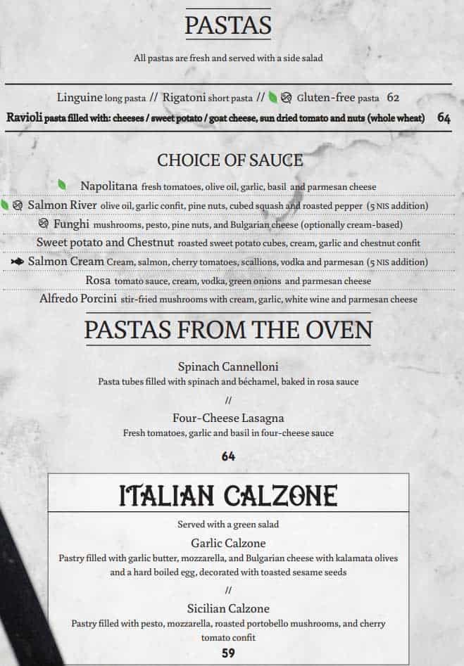 Cafe Rimon's Pasta Selection