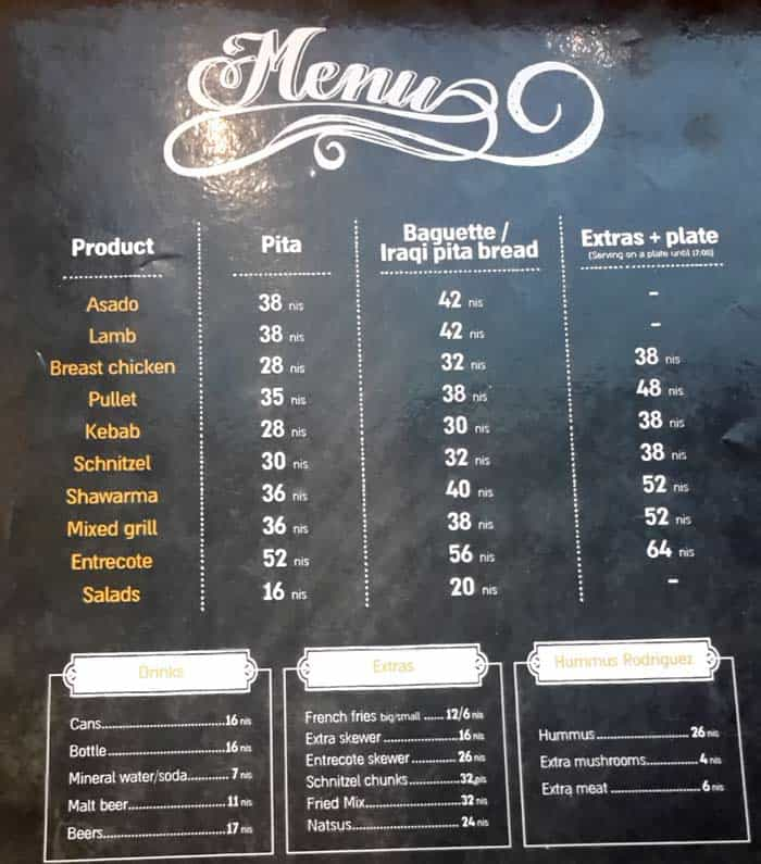 Rodriguez Express' Afternoon Menu