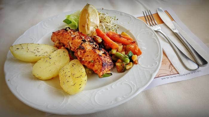 Fillet salmon in house sauce
