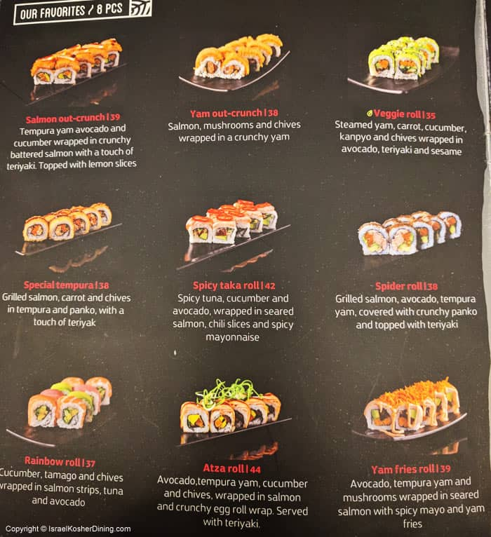 Recommended sushi rolls