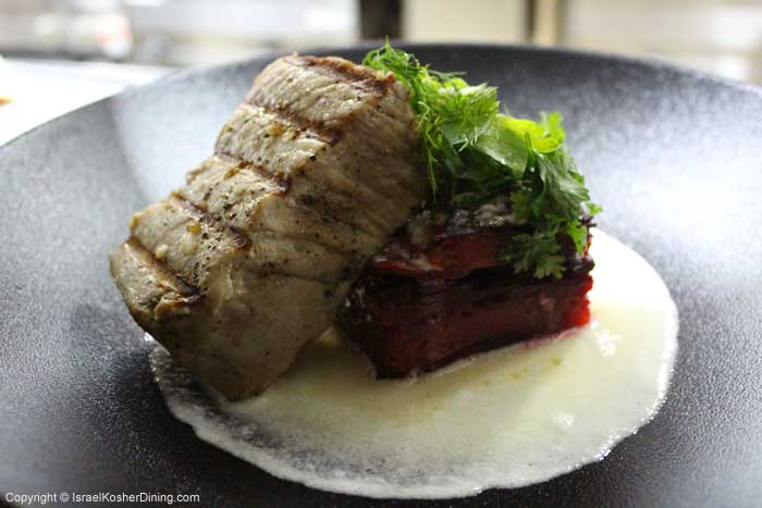 Red tuna fillet on beetroot gratin